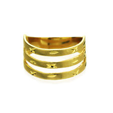 Women 14K Yellow Gold 4mm Dia Cut Ring Right Hand Band / Gift Box