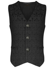 Pentagramme Mens Waistcoat Vest Black Brocade Gothic Steampunk Wedding VTG
