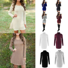 Autumn Women's Long Sleeve Knitted Sweaters Casual Swing Skater Dress Pullovers