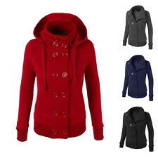 Winter Hooded Women Coat Warm Double-breasted Long Slim Jacket Outwear Overcoat
