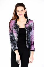 New Womens Ladies Multicolour Wool Pearl Embroidery Cardigan
