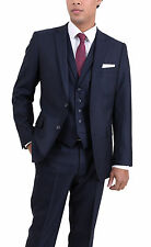 Arthur Black Extra Slim Fit Solid Navy Blue Two Button Three Piece Wool Suit