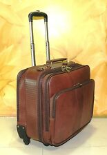 New Cabin size Laptop bag Real Leather Overnight Trolley Wheel Spinner Crocodile