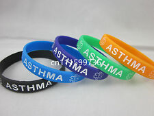 ASTHMA Medical ID Silicone Adult&Children Size 5 colours Wristband Bracelet