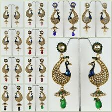 Peacock Shaped Gold Plated Fashion Jewelry Ethnic CZ Polki Earring Dangle