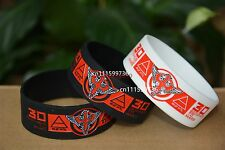 """30 SECONDS TO MARS Silicone Black&White 1"""" Wide Wristband Bracelet"""