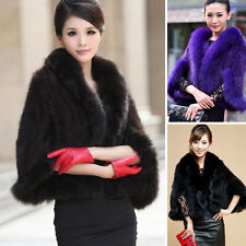 Women's 100% Real Farm Mink Fur Fox Fur Poncho Stole Cape Scarf Shawl Warm Coat