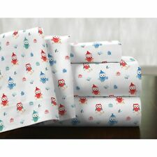 Twin XL Full Queen Cal King Bed Red Blue Winter Owl 4pc Cotton Flannel Sheet Set