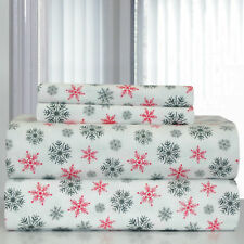 Twin XL Full Queen Cal King Bed Red Green Snowflake 4pc Cotton Flannel Sheet Set