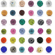 20Pcs/Lot Czech Crystal Rhinestones Pave Clay Round Disco Ball Spacer Beads DIY