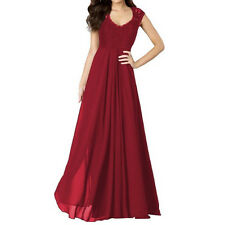 Women Lace Long Gown Evening Prom Ball Chiffon Formal Bridesmaid Party Dress New