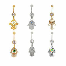 Crystal Hamsa Hand Belly Button Ring Unique Navel Belly Body Piercing Jewelry
