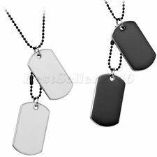 Alloy Military Style Double Dog Tags Pendant Bead Adjustable Chain Men Necklace