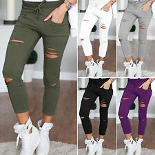New Fashion Womens Ladies Stretch Faded Ripped Pants Slim Fit Skinny Denim Jeans