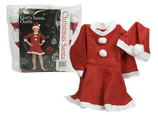 Girls Father Christmas Santa Mrs Claus Kids Fancy Dress Costume Outfit Xmas New