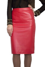 Casual Lined Pencil Bodycon Faux Leather watermelon Skirt 8 10 12 14 16 18 20 22