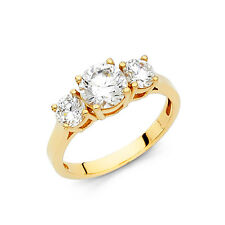 14k Solid Yellow Gold Diamond Engagement Ring 2.0 Ct Three Stone Round Cut