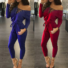 Womens Ladies Sexy Shoulder Off Jumpsuits Rompers Bandage Bodysuits Playsuits