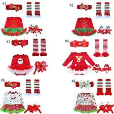 4Pcs Baby Girls Xmas Romper Tutu Dress Leg Warmer Headband Shoes Outfits Set