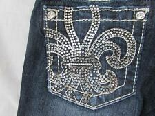 MISS ME tween girls denim rhinestone fleur de lis capri cuffed jeans bling