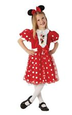 Childrens Disney Red Glitz Minnie Mouse Girls Fancy Dress Kids Costume Outfit