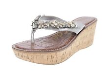 "SAM EDELMAN ""RANDI"" silver w/ jewels leather thong wedge sandals sz. 7, 9 $99"