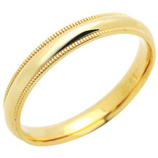Men's 14K Yellow Gold 3mm Milgrain Plain Domed Wedding Band Ring / Gift Box