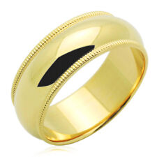 Men's 14K Yellow Gold 7mm Milgrain Plain Domed Wedding Band Ring / Gift Box