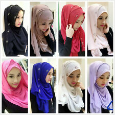 Muslim Beautiful Chiffon Hot Drill Long Scarf Shayla Islamic Arab Shalws Hijab