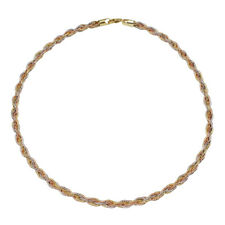 Women 5mm 14K Gold Plated Silver Layer Twisted Omega Spring Chain made in italy