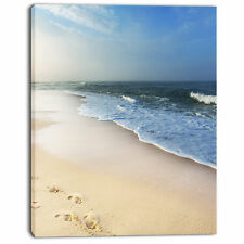 'Clam Tropical Beach with Footprints' Photographic Print on Wrapped Canvas
