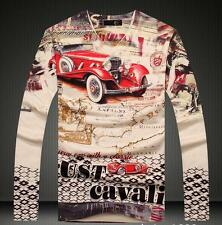 2016 NWT Men's Just Cavalli Cotton Graphic Printed Long Sleeves Base 3D T-shirt