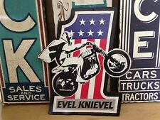 EVEL KNIEVEL MOTORCYCLE RIDER EMBOSSED METAL SIGN HARLEY SHOP GARAGE MAN CAVE