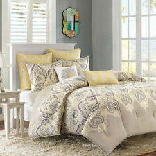 NEW Twin XL Full Queen Cal King Bed Soft Yellow Gray Paisley 7 pc Comforter Set