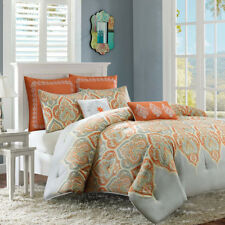 NEW Twin XL Full Queen Cal King Bed Orange Grey Gray Paisley 7 pc Comforter Set
