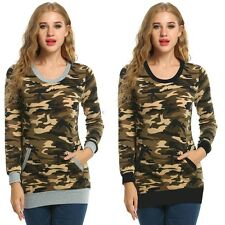 Casual Women Long Sleeve O-Neck Camouflage Print Slim Blouse Tops with Pocket