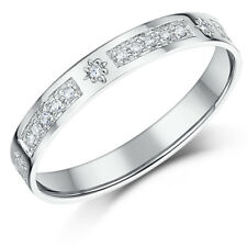 9ct White Gold Diamond Ring Half Eternity Ring 3mm Star 0.16ct Diamond Ring