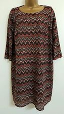 NEW ExYours Plus Size 16-32 Zig Zag Geometric Print Tunic Top Red Black White
