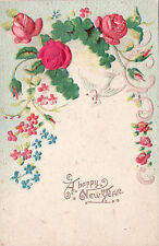 A HAPPY NEW YEAR 1909 - EMBOSSED OLD POSTCARD