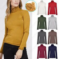 NEW LADIES RUFFLE POLO TURTLE NECK TOP WOMENS JERSEY CRINKLE LOOK LONG TOPS 8-14