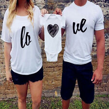 Family fitted cotton summer dress woman man couple White Heart T-shirt clothing