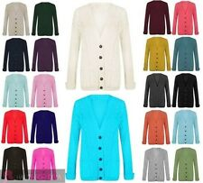 NEW LADIES CABLE KNIT BUTTON POCKETS CHUNKY GRANDAD LONG SLEEVE CARDIGAN JUMPER