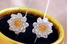 NEW women jewelry Asian Lotus flower hook Earrings 925 sterling Silver long