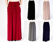 LADIES WOMENS PLAIN PLEATED ELASTICATED WAIST POCKET LONG MAXI SKIRT SIZE 8 -14