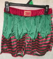 Mens: CHRISTMAS Red/Green Stripe Polyester Elf Jingle Bell Boxer  : NWT