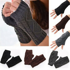 Unisex Men Women Arm Warmer Fingerless Knitted Long Gloves Cute Mittens Fashion@