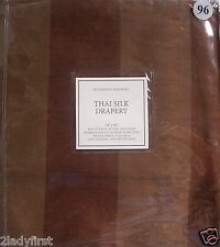 "2 Restoration Hardware Thai Silk Stripe Pole Top Drapes ~ 50 x 96"" ~ PECAN"