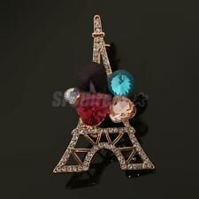 Fashion Crystal Rhinestone Paris Eiffel Tower Brooch Pin Gift Souvenir Men Women