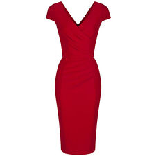 Red 40s Bodycon Hollywood Vintage Pencil Wiggle Party Cocktail Dress 8-18