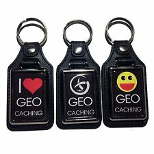 Geocaching Keyring Key Fob Sturdy, Luxury Feel Black leather effect Perfect Gift